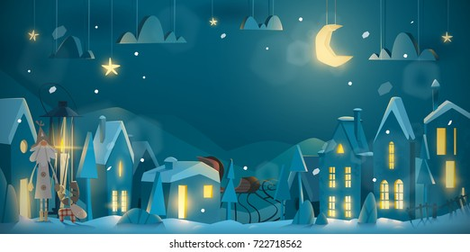 Horizontal winter night design for Christmas and New Year for celebrate