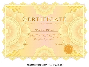 Horizontal yellow certificate of completion (template) with guilloche pattern (watermarks). Background design usable for diploma, invitation, gift voucher, coupon, official or different awards. Vector