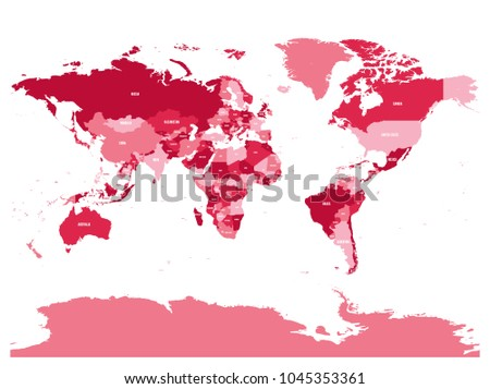 Flipped World Map.Horizontally Flipped Political Map World Mirror Stock Vector
