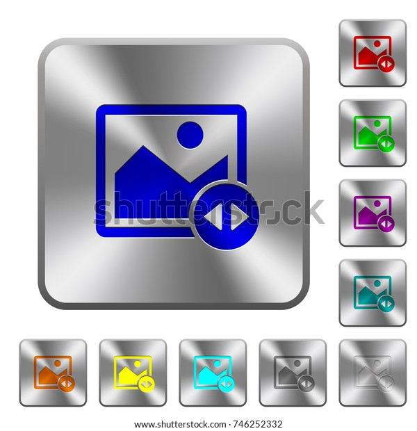 Horizontally move image engraved icons on rounded square glossy steel buttons