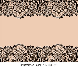 Horizontally seamless beige lace background with black lace borders