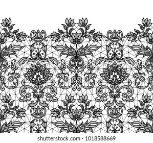 Horizontally seamless black lace border background with floral pattern isolated on white
