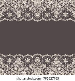 Horizontally seamless brown lace background with lace borders