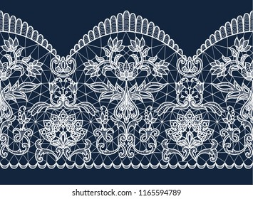Horizontally seamless dark blue background and white lace ribbon with floral pattern