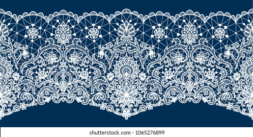 Horizontally seamless dark blue lace background with floral pattern