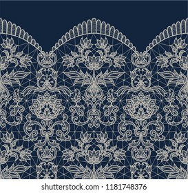 Horizontally seamless dark blue lace border background with floral pattern