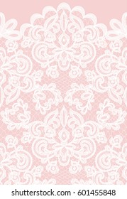 Horizontally seamless floral lace pattern on pink background