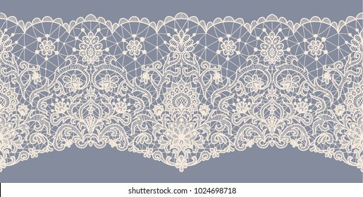 Horizontally seamless gray lace background with floral pattern