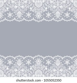 Horizontally seamless gray lace background with lace borders