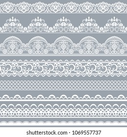 Horizontally seamless gray lace background with ribbons