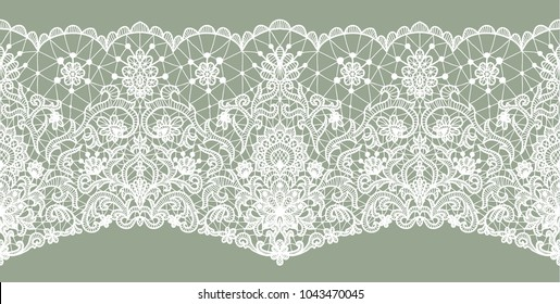 Horizontally seamless green lace background with floral pattern