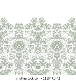 Horizontally seamless green lace border background with floral pattern