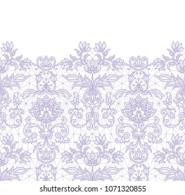 Horizontally seamless lilac lace border background with floral pattern