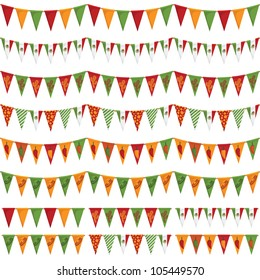 horizontally seamless mexican party bunting pack, isolated on white