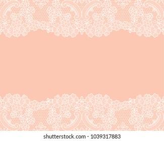 Horizontally seamless orange lace background with white lace borders