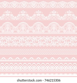 Horizontally seamless pink lace background with lace ribbons