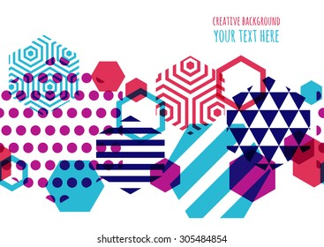 Horizontally seamless vector geometric background with place for text. Abstract creative concept for flyer, invitation, greeting card, poster design. Hexagon multicolor pattern.
