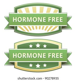 Hormone free food label, badge or seal with green and yellow color in vector