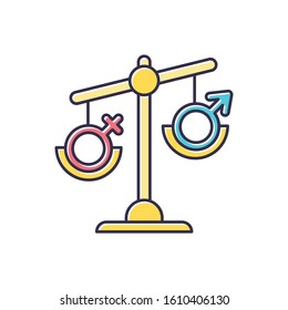 Hormone imbalance color icon. Female and male gender sign on scale. Unbalanced seesaw. Disbalance in testosterone and estrogen. Sexism and inequality. Sexology. Isolated vector illustration
