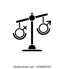 Hormone imbalance glyph icon. Female and male gender sign on scale. Unbalanced seesaw. Disbalance in testosterone and estrogen. Silhouette symbol. Negative space. Vector isolated illustration