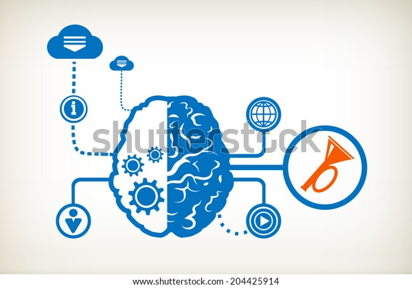 Horn and abstract human brain, the concept of the information movement