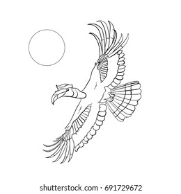 Horn bill flying in the sky, hand dawn vector illustration