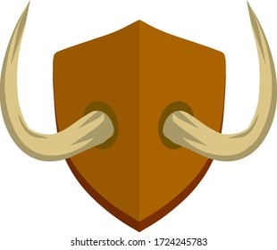 Horn of deer and bull. Hunting trophy. Wall decoration element. Old tusk on wooden board. Part of the stag animal head. Brown shield. Flat cartoon illustration