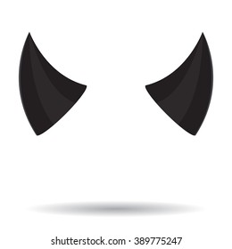 Horn devil black color. Devil horn, evil demon, costume horn halloween, hell icon, symbol satan horned. Vector abstract flat design illustration