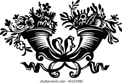 Horn filled with flowers in black and white
