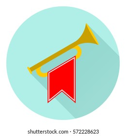 Horn, icon horn, trumpet, to play the trumpet, beep. Flat design, vector illustration, vector.