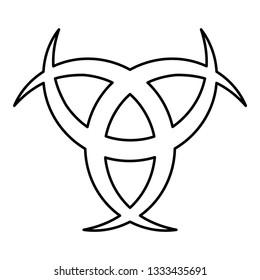 Horn Odin Triple horn of Odin icon black color outline vector illustration flat style simple image