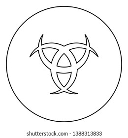 Horn Odin Triple horn of Odin icon in circle round outline black