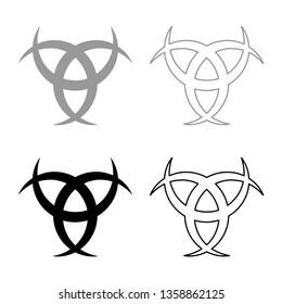 Horn Odin Triple horn of Odin icon set black color vector illustration flat style simple image