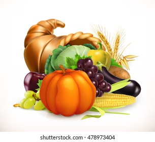 Horn of plenty. Harvest fruits and vegetables. 3d vector icon