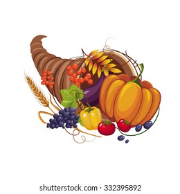 Horn of Plenty with Vegetables and Fruits, Stalks and Autumn Leaves, Vector Illustration