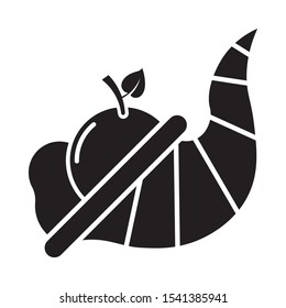 horn shaped container overflowing organic food cornucopia thanksgiving vector icon design