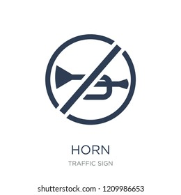 Horn sign icon. Trendy flat vector Horn sign icon on white background from traffic sign collection, vector illustration can be use for web and mobile, eps10