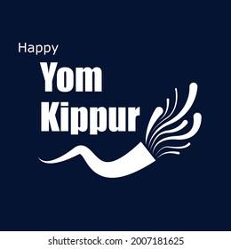 Horn for the Yom Kippur holiday, vector art illustration.