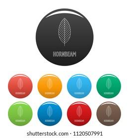 Hornbeam leaf icon. Outline illustration of hornbeam leaf vector icons set color isolated on white