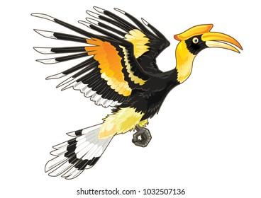 Hornbill bird cartoon in flying position