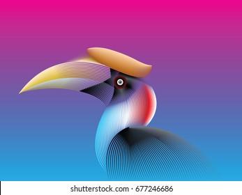 Hornbill Bird color faded line style. Vector Illustration.