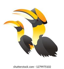 Hornbill couple love forever vector illustration isolated