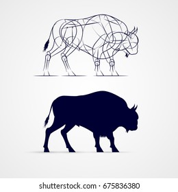 Horned Bison Silhouette with Sketch Template on Gray Background