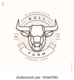 horned bull head, linear farm logo, vintage badge
