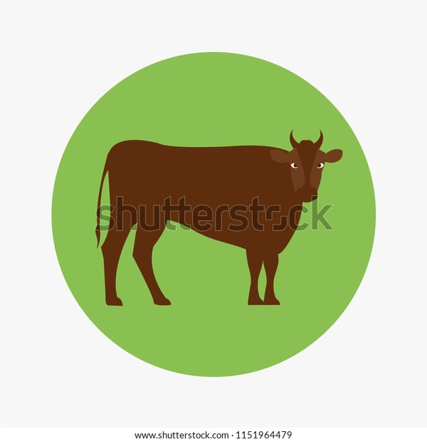 Horned Bull Icon Symbol Ox Icon Stock Vector (Royalty Free