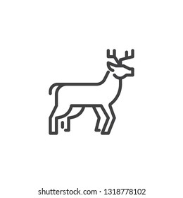 Horned deer side view line icon. linear style sign for mobile concept and web design. deer outline vector icon. Forest animal symbol, logo illustration. Pixel perfect vector graphics