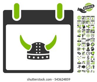 Horned Helmet Calendar Day pictograph with bonus calendar and time management clip art. Vector illustration style is flat iconic symbols, eco green and gray, white background.