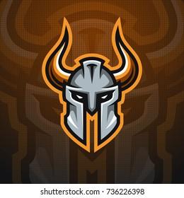 Horned Helmet mascot logo. Sport team logotype illustration. Eps10 vector.