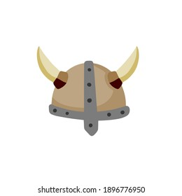 Horned helmet of Viking. Armor of Scandinavian barbarian. Protecting the soldier head. Medieval object. Flat cartoon illustration