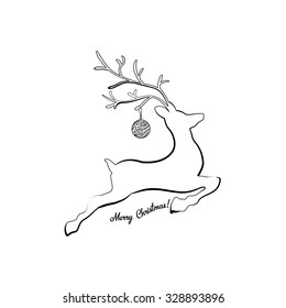 Horned jumping or running deer. Vector logo template for your Merry Christmas and Happy New Year greeting design.